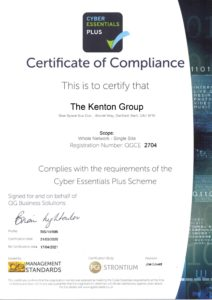 certificate of compliance cyber essentials plus